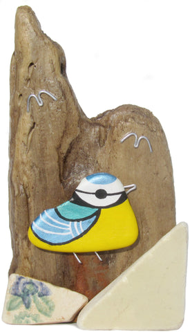 Hand-Painted Pebble Blue Tit - Beach Pottery Driftwood Ornament (No. 1024)