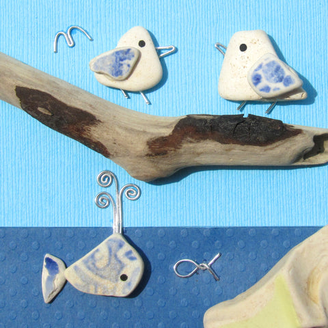 Pair of Pebble Seagulls & Pottery Whale - Framed Beach Collage (No. 1025)
