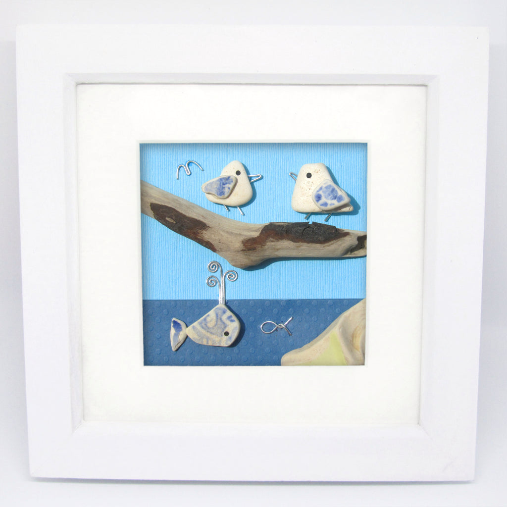 Pair of Seagulls & Pottery Whale - Beach Pebble Art Framed Picture (No. 1025)