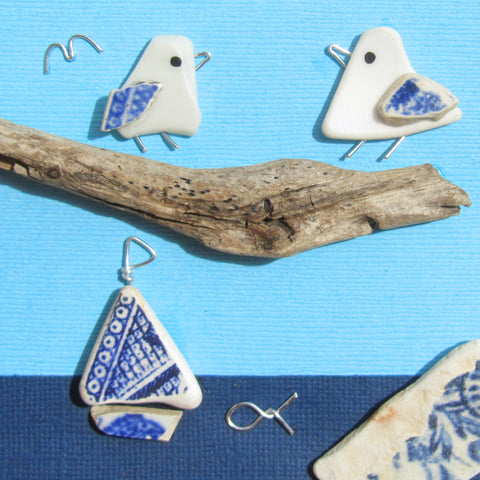 Pair of Pebble Seagulls & Pottery Sailing Boat - Framed Beach Collage (No. 1026)