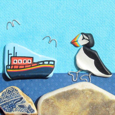 RNLI Lifeboat, Pebble Puffin & Islands - Hand-Painted Framed Beach Collage (No. 1027)
