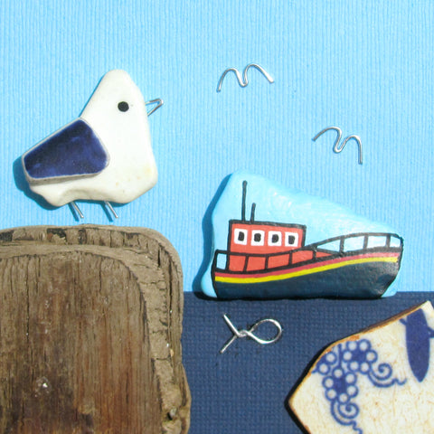 RNLI Lifeboat, Pebble Seagull & Driftwood - Hand-Painted Framed Beach Collage (No. 1028)