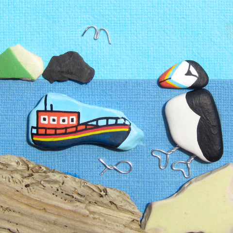 RNLI Lifeboat & Pebble Puffin - Hand-Painted Framed Beach Collage (No. 1029)