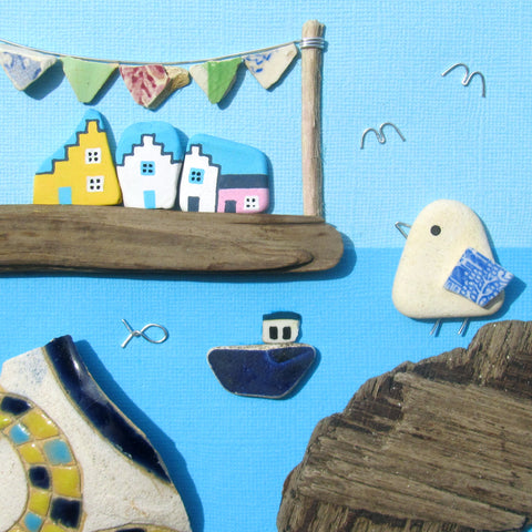 Harbour Festival with Seagull, Cottages, Boat & Bunting - Large Framed Beach Collage (No. 1030)
