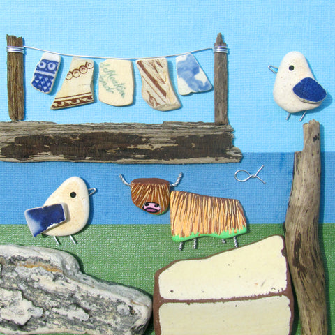 Highland Cow, Washing Line & Seagulls - Large Hand-Painted Framed Beach Collage (No. 1031)