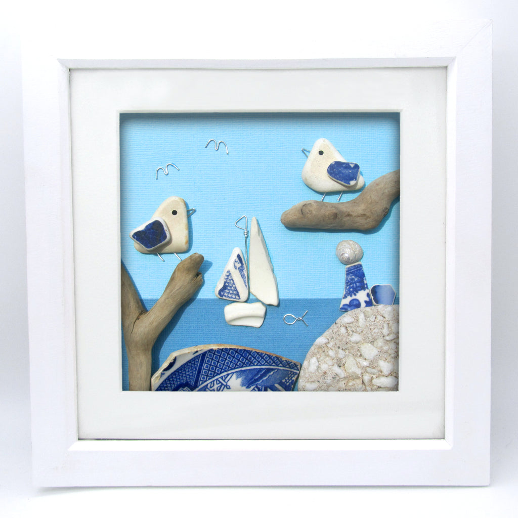 Blue & White Seaside Scene with Seagulls & Sailing Boat - Large Framed Beach Collage (No. 1032)