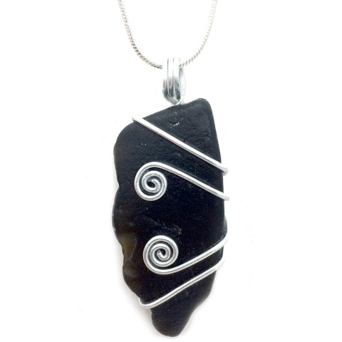 """Black"" Scottish Sea Glass Celtic Swirl Pendant Necklace (No. 1045)"