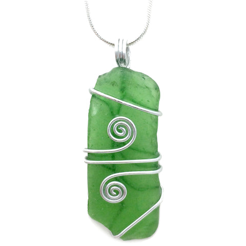 Bright Green Scottish Sea Glass Celtic Swirl Pendant Necklace (No. 1046)