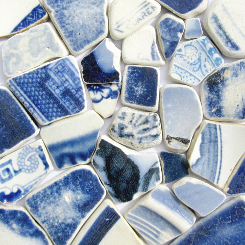 Blue & White Antique Sea Pottery Mosaic - Framed Beach Collage (No. 1053)
