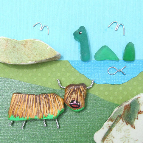 Hand-Painted Highland Cow & Sea Glass Nessie - Framed Beach Collage (No. 1055)