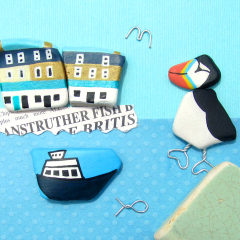 Puffin, Anstruther Fish Bar & Isle of May Ferry - Framed Beach Collage (No. 1058)