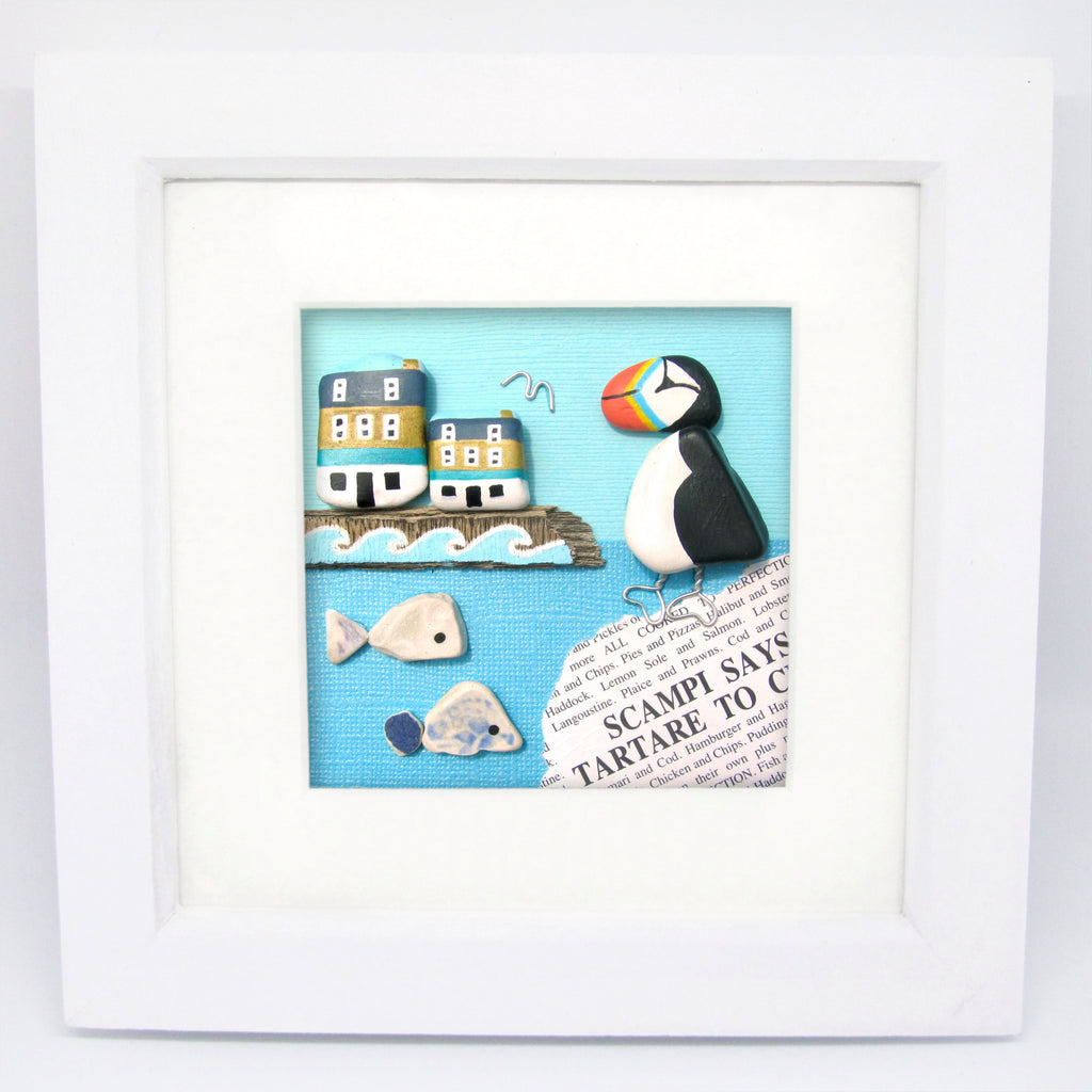 Puffin, Anstruther Fish Bar & Pottery Fish - Hand-Painted Framed Beach Collage (No. 1059)