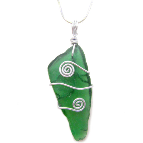 Emerald Green Scottish Sea Glass Celtic Swirl Pendant Necklace (No. 1077)