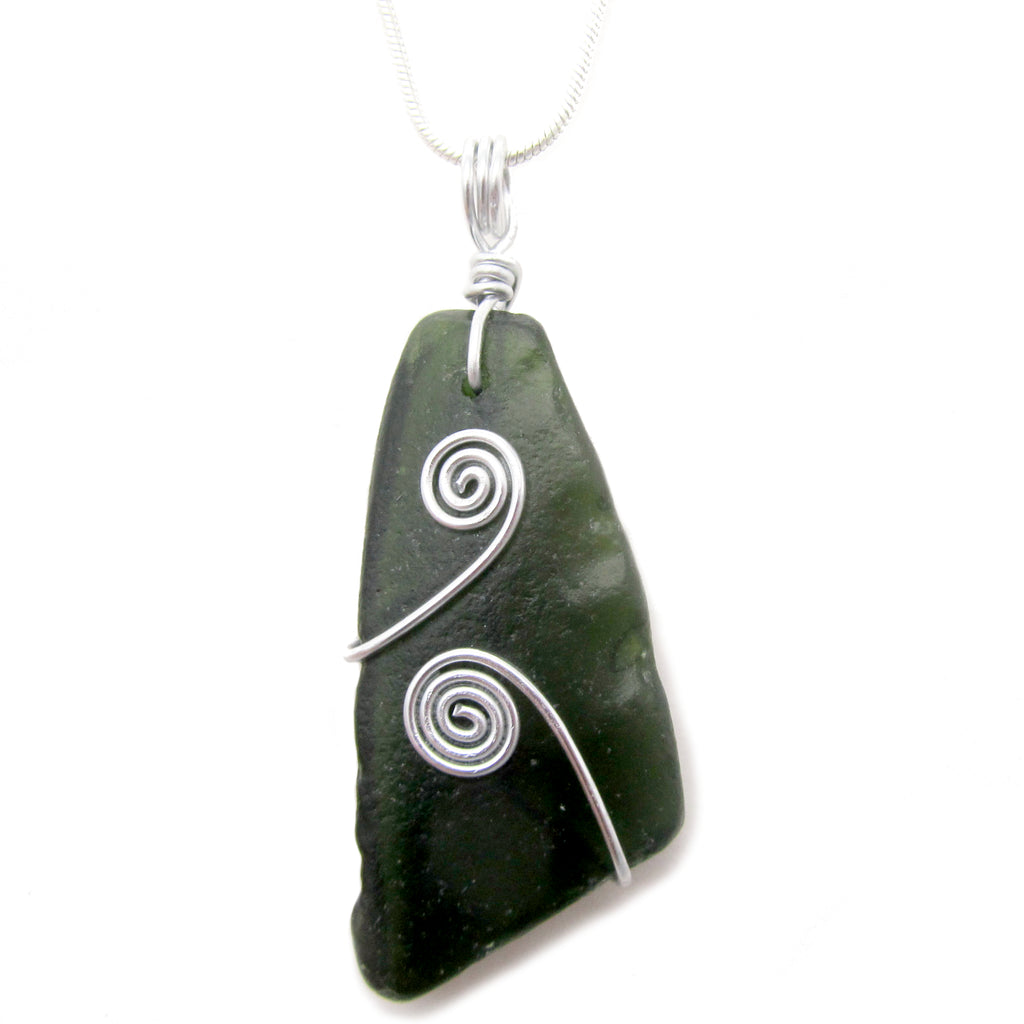 Very Dark Green / Black Scottish Sea Glass Celtic Swirl Pendant Necklace (No. 1078)