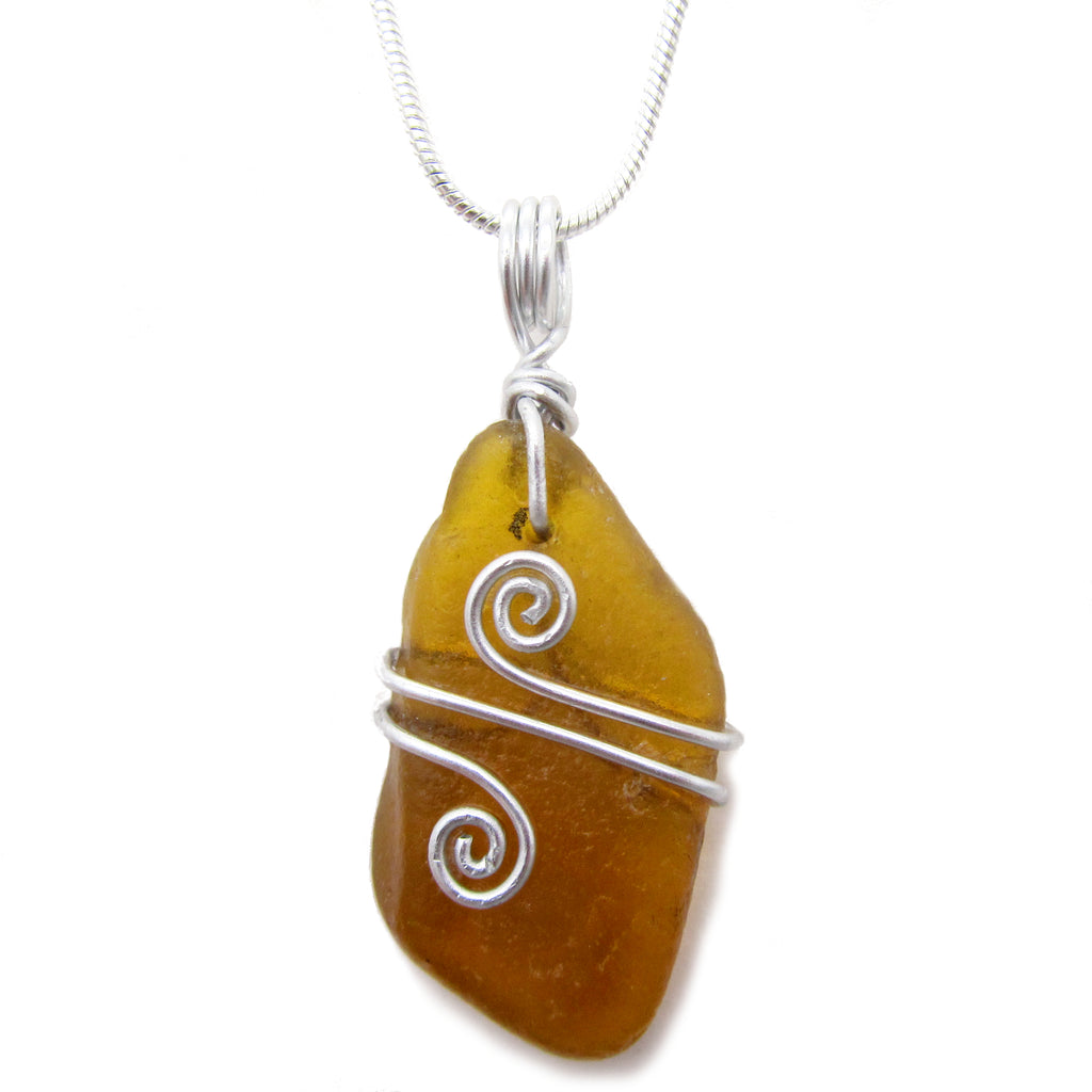 Amber Brown Scottish Sea Glass Celtic Swirl Pendant Necklace (No. 1079)