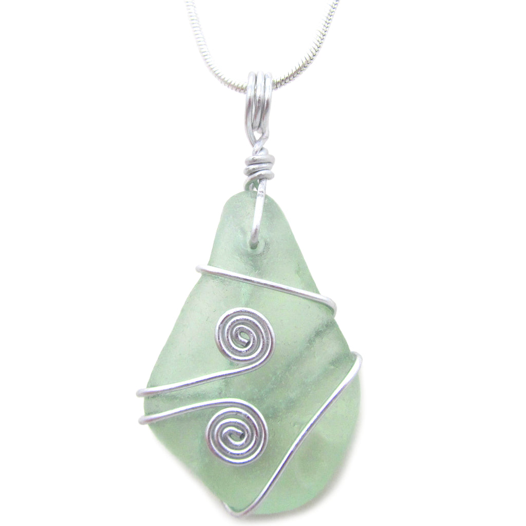 Seafoam Green Scottish Sea Glass Celtic Swirl Pendant Necklace (No. 1082)