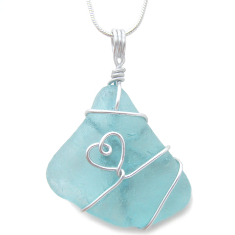Aqua Blue Green Scottish Sea Glass Love Heart Pendant Necklace (No. 1083)