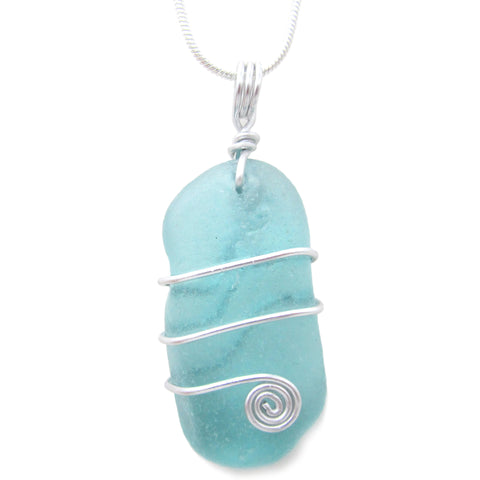 Aqua Blue Green Scottish Sea Glass Celtic Swirl Pendant Necklace (No. 1084)
