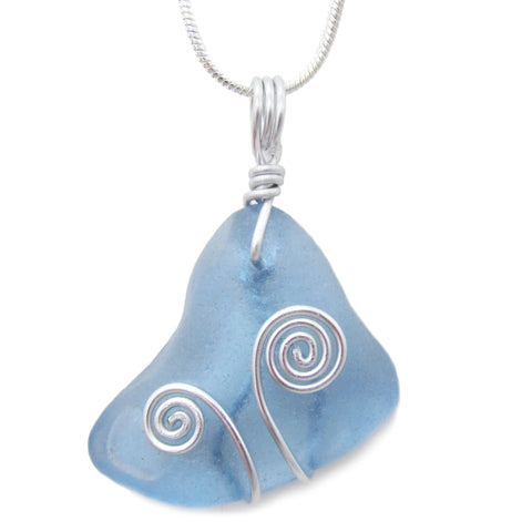 Rare Cornflower Blue Scottish Sea Glass Celtic Swirl Pendant Necklace (No. 1085)