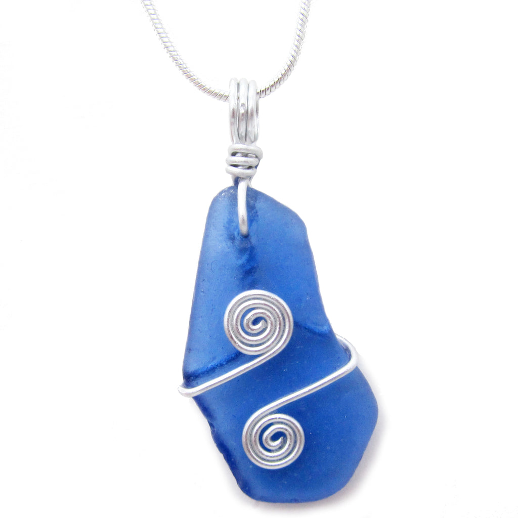 Rare Cobalt Blue Scottish Sea Glass Celtic Swirl Pendant Necklace (No. 1088)