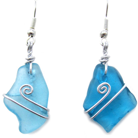 Turquoise Scottish Sea Glass Celtic Swirl Silver Earrings (No. 1093)