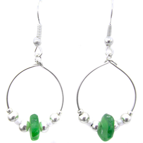 Emerald Green Scottish Sea Glass Small Hoop Earrings (1095)