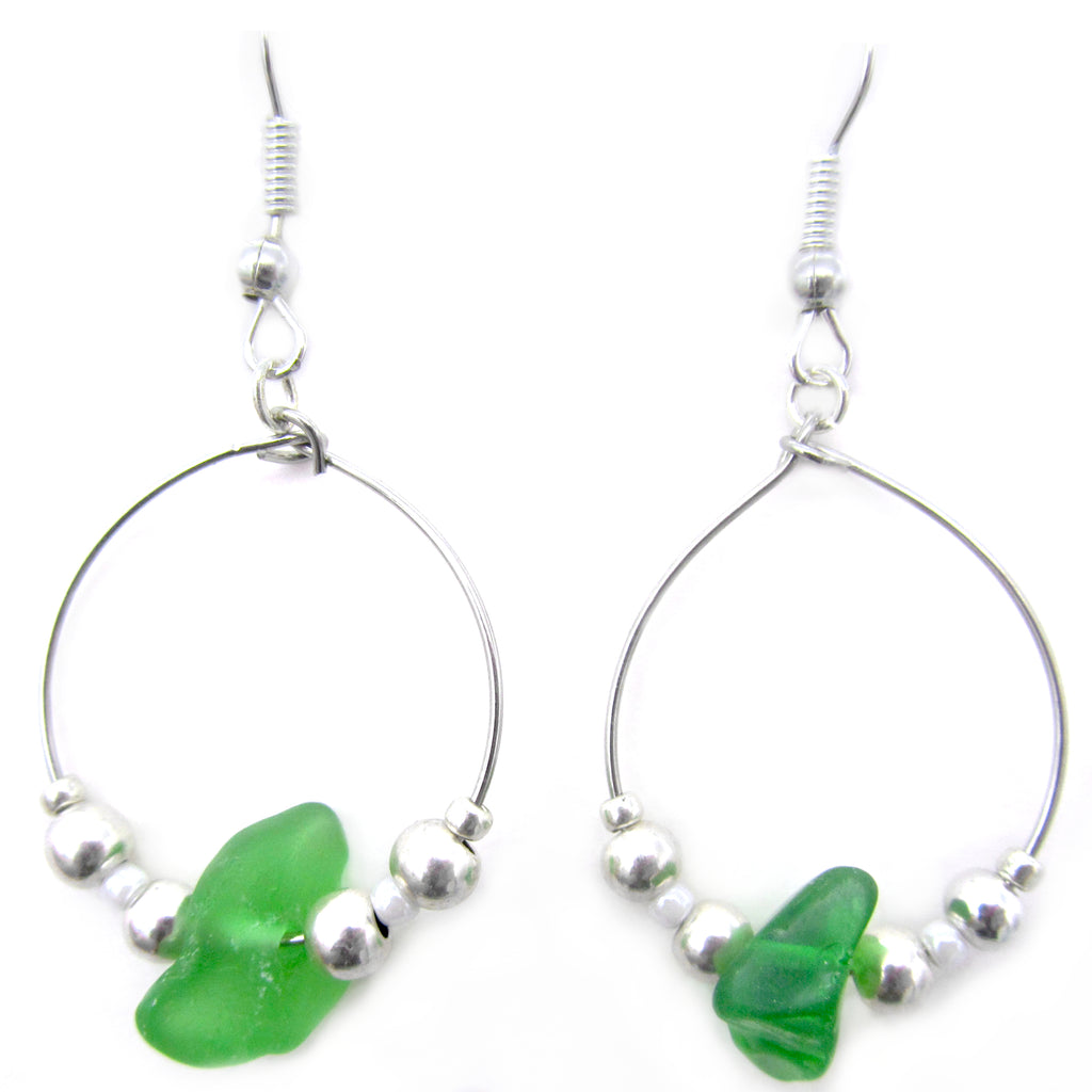 Emerald Green Scottish Sea Glass Small Hoop Earrings (1097)