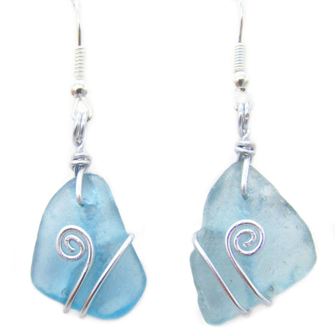 Turquoise Scottish Sea Glass Celtic Swirl Silver Earrings (No. 1098)