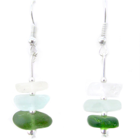 Green Scottish Sea Glass Stacked Silver Earrings (No. 1100)