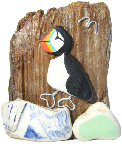 Hand Painted Pebble Puffin & Beach Pottery Driftwood Ornament (No. 1103)