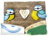 Blue Tits & Heart - Beach Pottery - Pebble Art Driftwood Ornament (No. 1104)