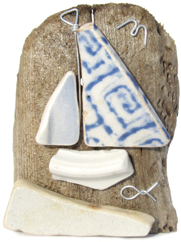 Blue Sailing Boat Beach Pottery Driftwood Ornament (No. 1108)