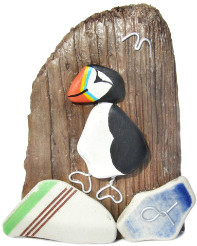 Puffin - Beach Pottery - Pebble Art Driftwood Ornament (No. 1110)