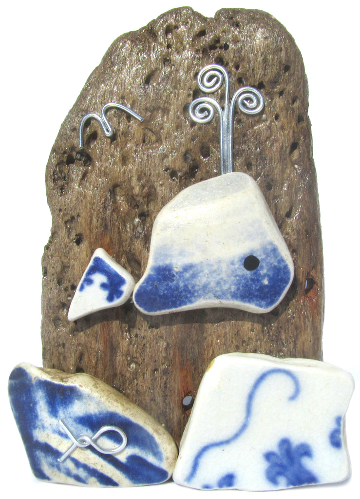 Beach Pottery Whale - Pebble Driftwood Ornament (No. 1113)