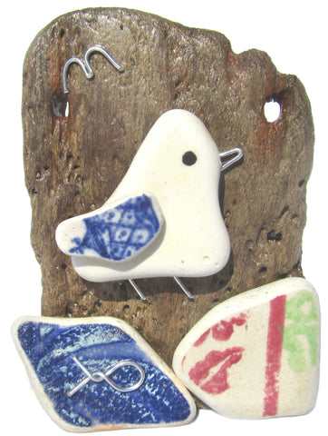 Seagull - Beach Pottery - Pebble Art Driftwood Ornament (No. 1115)