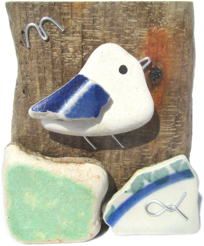 Seagull - Beach Pottery - Pebble Art Driftwood Ornament (No. 1116)