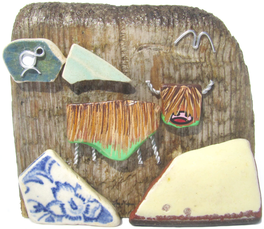 Hand Painted Highland Coo & Sheep - Beach Pottery Driftwood Ornament (No. 1117)