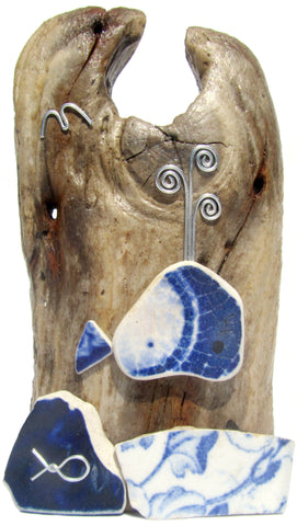 Blue Whale - Beach Pottery - Pebble Art Driftwood Ornament (No. 1125)