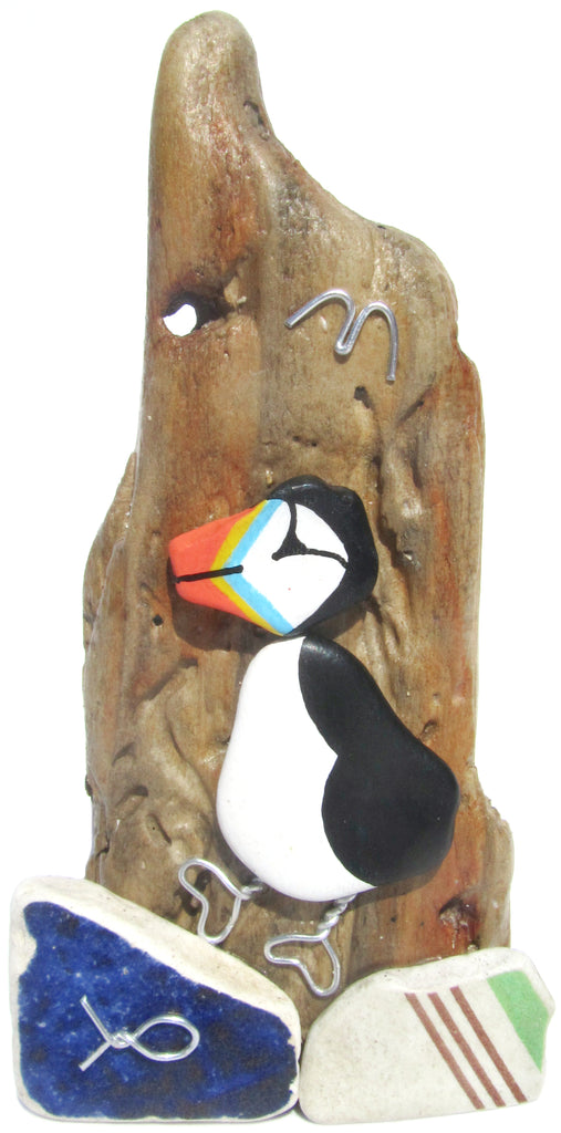 Puffin - Beach Pottery - Pebble Art Driftwood Ornament (No. 1126)