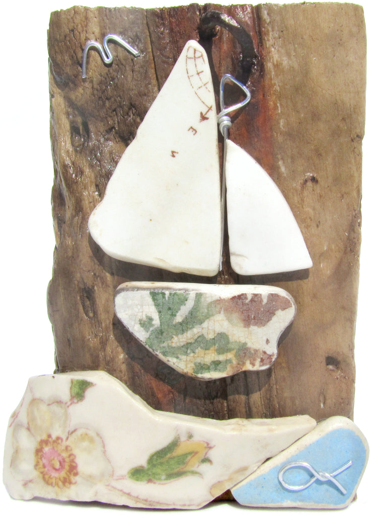 'Compass' Sailing Boat - Beach Pottery - Pebble Art Driftwood Ornament (No. 1127)