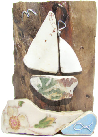 'Compass' Sailing Boat - Antique Beach Pottery Driftwood Ornament (No. 1127)