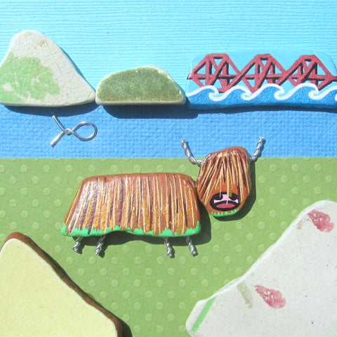Hand-Painted Highland Cow & Forth Rail Bridge - Framed Pebble Beach Collage (No. 1128)