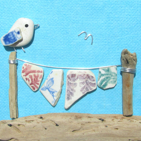 Pebble Seagull & Antique Pottery Washing Line - Framed Pebble Beach Collage (No. 1129)