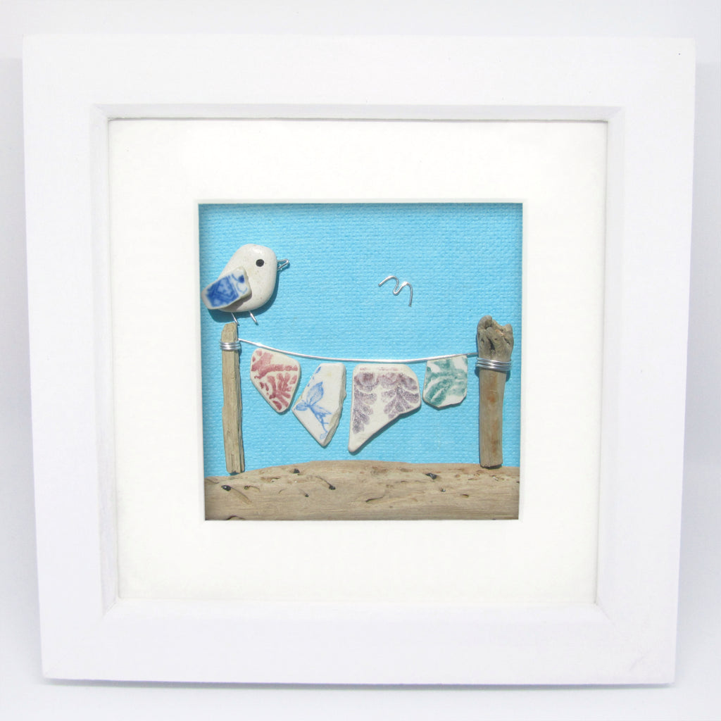 Seagull & Antique Pottery Washing Line - Beach Pebble Art Framed Picture (No. 1129)