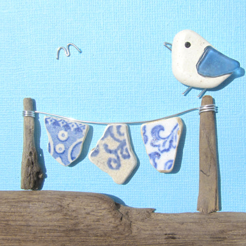 Seagull & Antique Pottery Washing Line - Beach Pebble Art Framed Picture (No. 1130)
