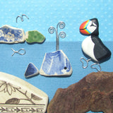 Hand-Painted Puffin & Pottery Whale - Framed Pebble Beach Collage (No. 1131)