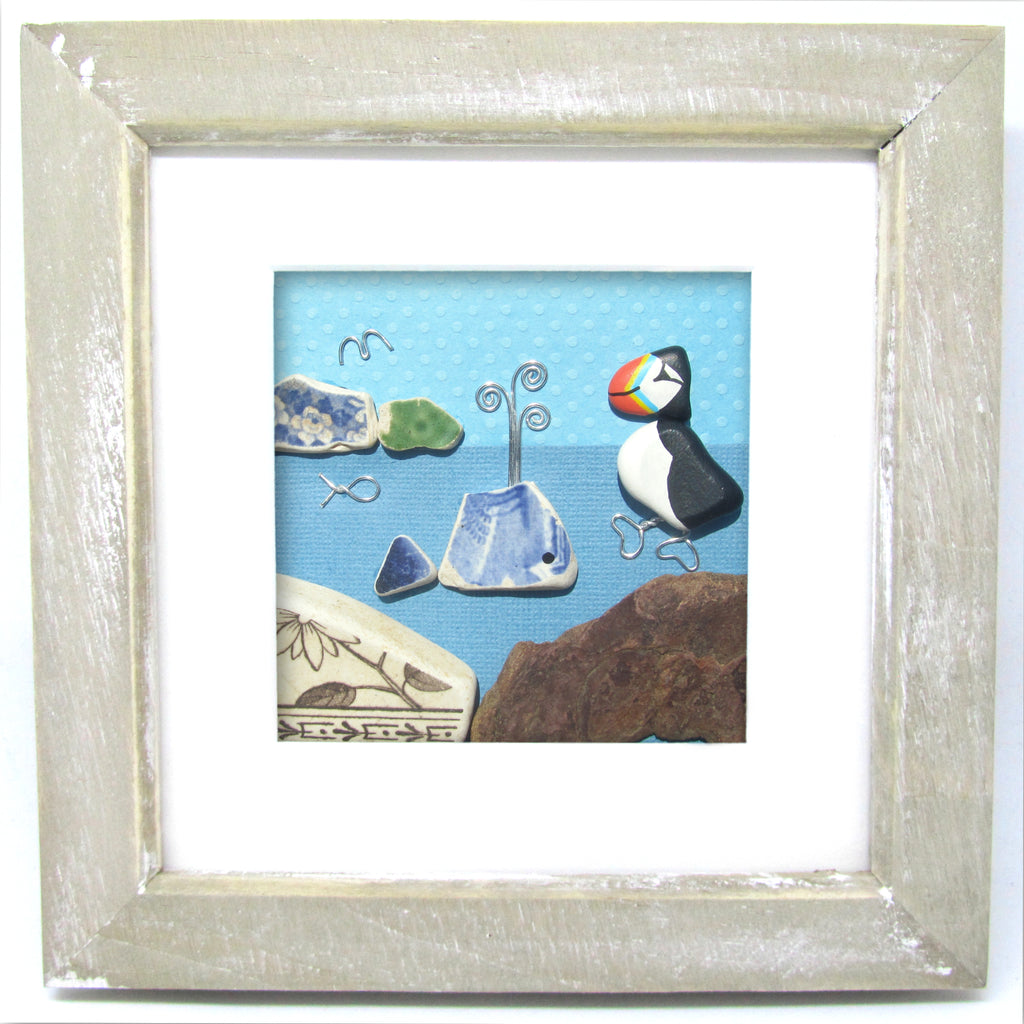 Puffin & Pottery Whale - Beach Pebble Art Framed Picture (No. 1131)