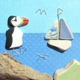 Puffin & Pottery Sailing Boat - Beach Pebble Art Framed Picture (No. 1132)