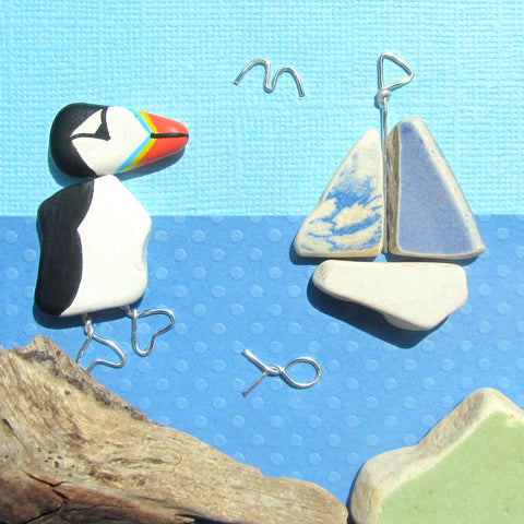 Hand-Painted Puffin & Pottery Sailing Boat - Framed Pebble Beach Collage (No. 1132)