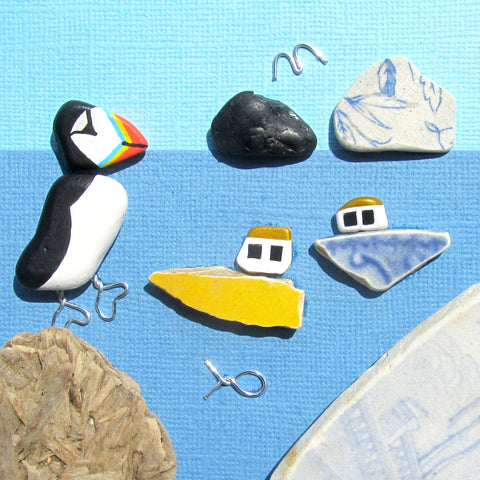 Hand-Painted Puffin & Pottery Fishing Boats - Framed Pebble Beach Collage (No. 1133)